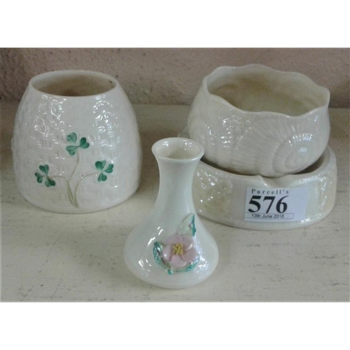 576 - Four Pieces of Decorative Belleek...