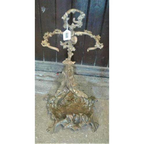 668 - Cast Brass Umbrella/Stick Stand, c.22in tall...