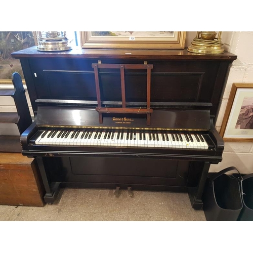 527 - Upright Case Piano by Crane & Sons, c.57in wide...