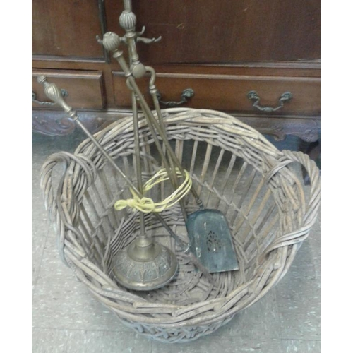 3 - Wicker Log Basket and Set of Fire Irons...