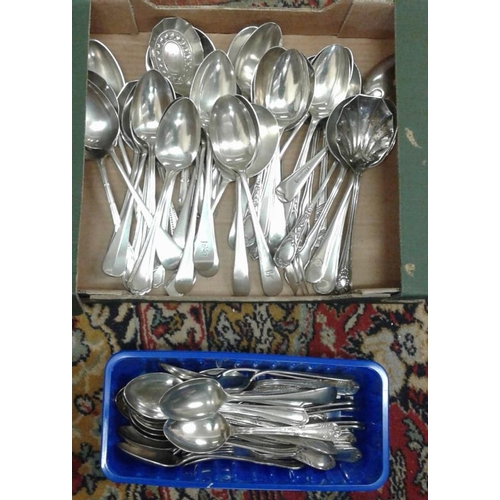 16 - Large Collection of Old Serving and Table Spoons and Box of Ornate Cutlery...