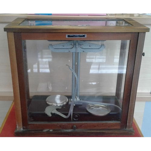 35 - Vintage Cased Laboratory Scales by Griffin & George Limited, c.18 x 16in...