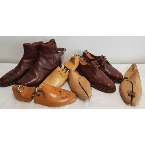 53 - Pair of French Leather Shoes (size 7), a Pair of Leather Boots (size 8) and Various Shoe Trees...