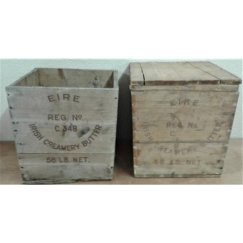 58 - Two Irish Wooden Butter Boxes...