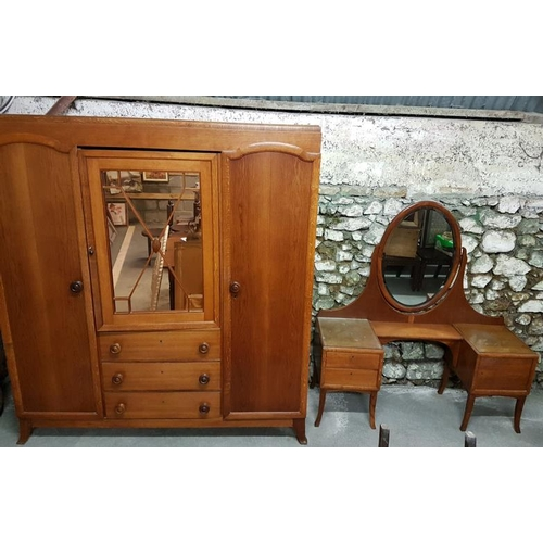 57 - German Hand Crafted Three Section Wardrobe and Matching Dressing Table, wardrobe c.6ft wide, dressin...