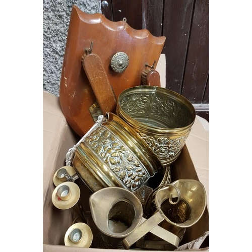 27 - Box of Brass Wares and a Clothes Brush Set...