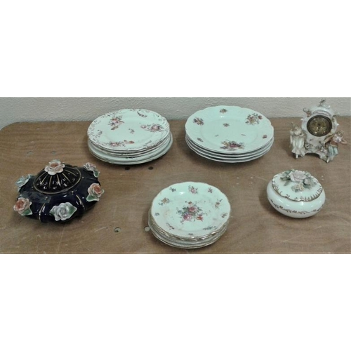 7 - Good Collection of Old Porcelain Plates, Dresden, etc., Two Porcelain Boxes...