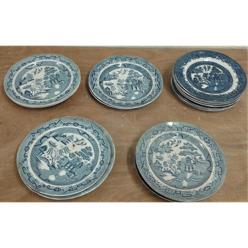 10 - Collection of Mostly Antique Willow Pattern Plates (some 1860)...