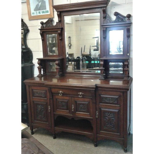 11 - Late Victorian Carved Mahogany and Mirror Back Sideboard with Bevelled Mirrors and Carved Panels - c...
