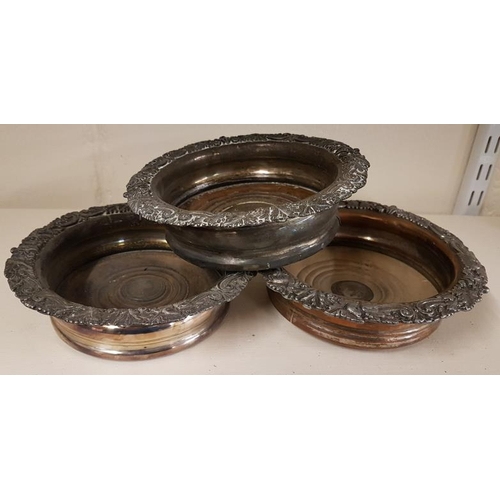 14 - Set of Three Silver Plated Wine Bottle Coasters...