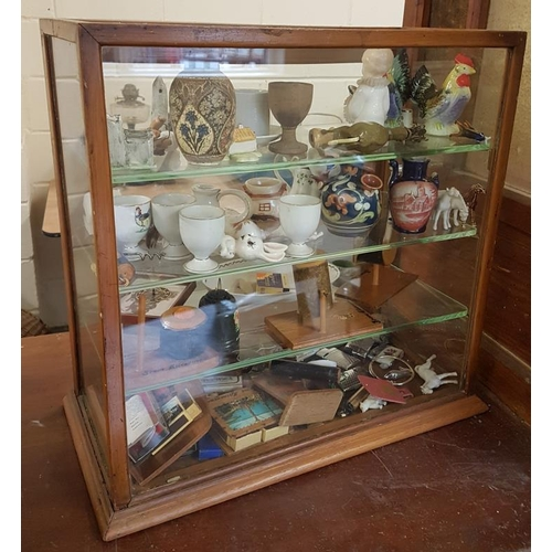 20 - Edwardian Oak Shop Display Cabinet with Three Glass Shelves (c. 19 x 19 x 24ins) and One Other Cabin...