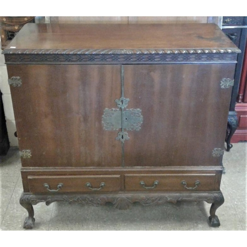 22 - Double Door Mule Chest with rope Edge and Blind Fret Frieze with Two Drawers c. 1930, c.48 x 46in...