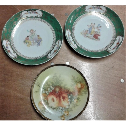 32 - Pair of Vienna Decorated Plaques and a Limoges Chrysanthemum Plate...