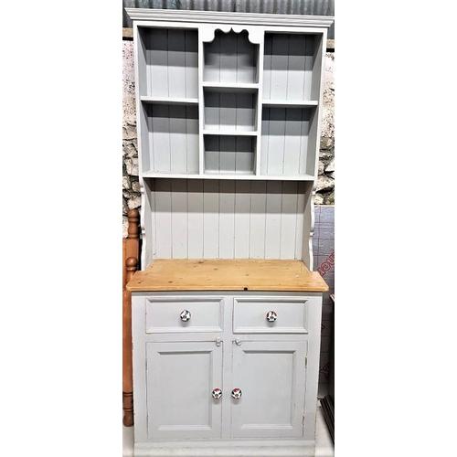 35 - Modern Kitchen Dresser - c. 38 x 85ins and a Pine Magazine Rack...