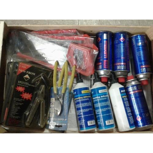 44 - Tray of New Tenon Saws, Wood Glue, Butane Gas, etc....