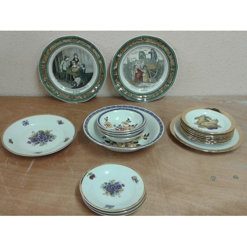 61 - Box of Various Pudding Sets and Pair of Cries of London Plates...