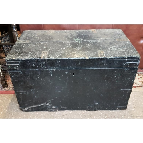 64 - Georgian Pine and Metal Bound Cabin Trunk, c.30in wide...