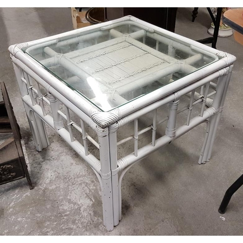 76 - Painted Bamboo and Glass Coffee Table, c.2ft x 2ft...