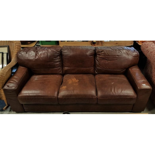 91 - Brown Three-Seater Leather Couch, c.81in...