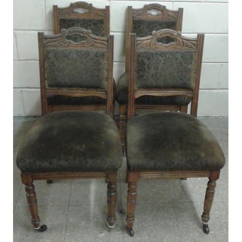 97 - Set of Four Edwardian Green Upholstered Chairs...