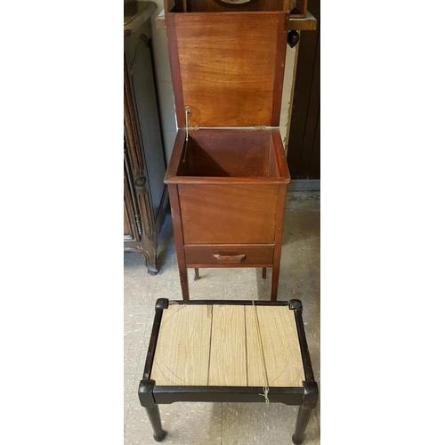 98 - Mahogany Work Box and a foot stool...