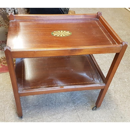104 - Inlaid Mahogany Two Tier Tea Trolley, c.27in wide, 28in tall...