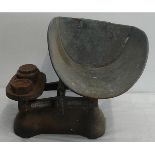 118 - W. Tavery Ltd. Shop Weighing Scales with weights...
