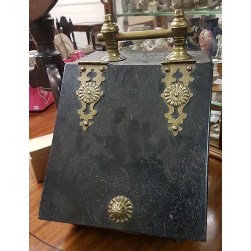 187 - Edwardian Brass Mounted Black Metal Coal Box, c.10.5in wide, 15in tall...
