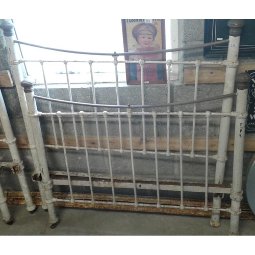 190 - Victorian Brass and Iron Bed Frame - 4ft with side rails...