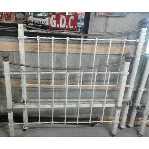 191 - Victorian Brass and Iron Bed Frame - 4ft with side rails...
