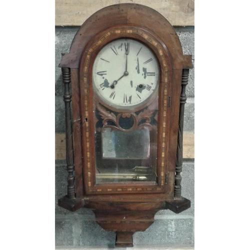 274 - Victorian Inlaid Walnut Wall Clock - 17 x 32ins...