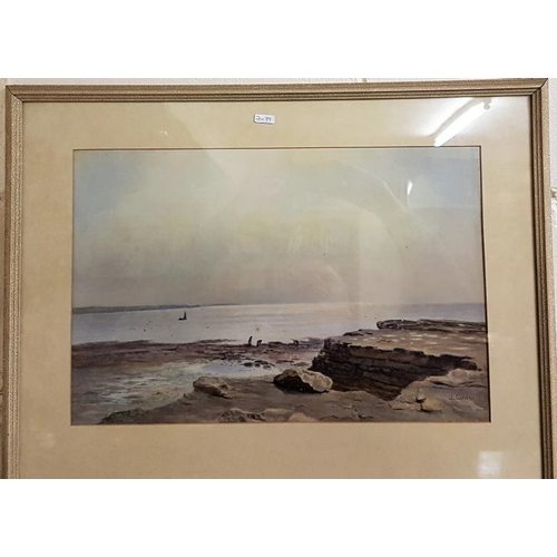 296 - J A Aitken, A.R.H.A 1846-1897, Watercolour of Women Gathering Seaweed, signed lower right, c. 19.5in...