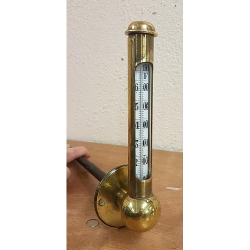 304 - Unusual and Rare Brass Cased Steam/Water Gauge (possibly from a locomotive), c.9.5in tall...