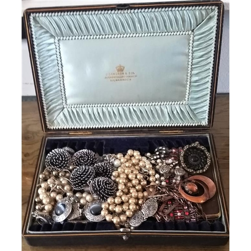 334 - Antique Satin lined Cameron & Son presentation box and contents....