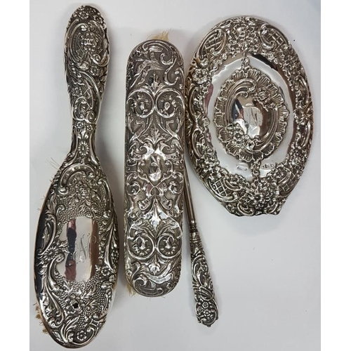347 - Mixed Silver Backed Lady's Vanity Set, hair brush, clothes brush, mirror (handle lacking) and button...
