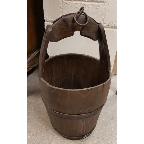 68a - Pine Water Bucket, c.24in tall...