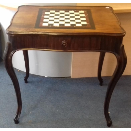 388 - French Walnut Games, Inlaid Marble Chess Board, frieze drawer, c.29in wide, 21in deep, 30.5in tall...