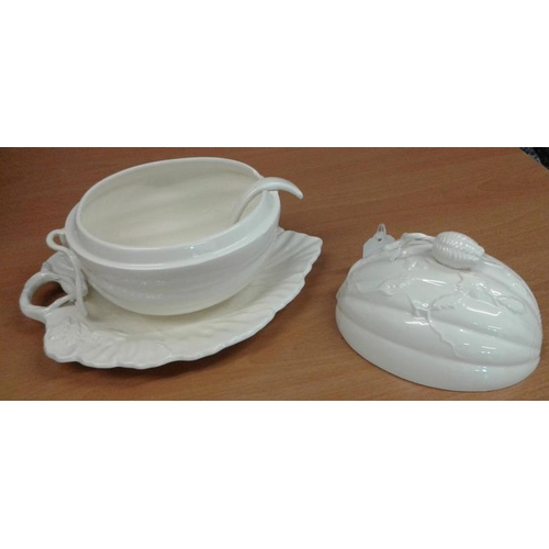 444 - Creamware Lidded Tureen and Plate...