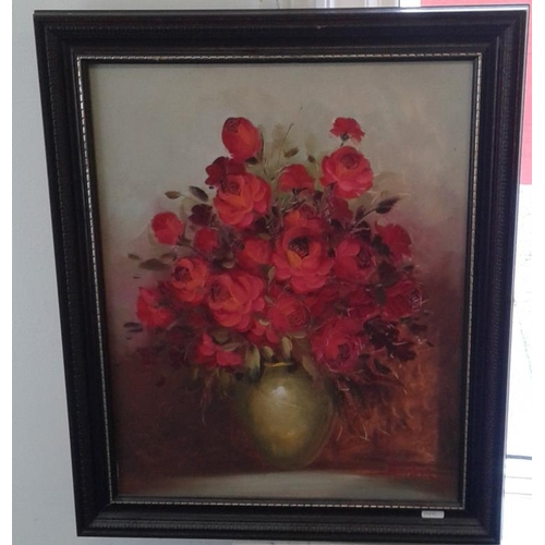 446 - Signed OOC - 'Still Life - Flowers' - Overall c. 19.5 x 23.5ins...