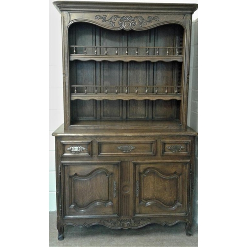 450 - Traditional 19th Century Style Oak Kitchen Dresser with three open shelves on a base with three draw...