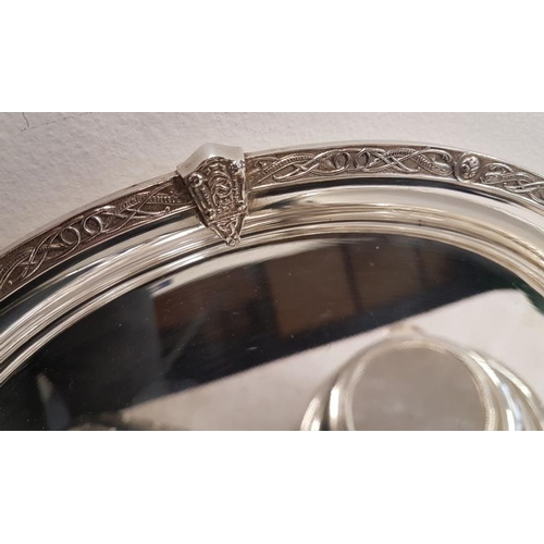 451 - 1930's Celtic Rim EPNS Serving Tray (c.12in diam), a similar pattern Entree Dish and another dish wi...