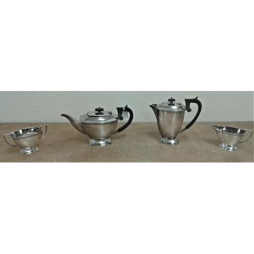 456 - Four Piece Silver Plate Teaset (Walker & Hall)...