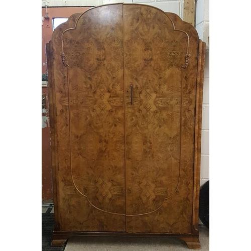 504 - Art Deco Burr Walnut Bedroom Suite - Wardrobe (48 x 78in), Tallboy (30 x 55in) and Dressing Table (4...