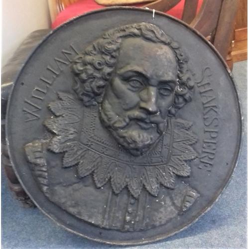 506 - Heavy Cast Iron Relief Plaque of Shakespeare, c.21.5in diam...