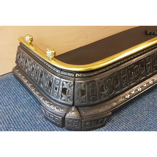 535 - Early 20th Century Polished Brass and Cast Iron Fire Fender, c.42in wide, 11in deep...