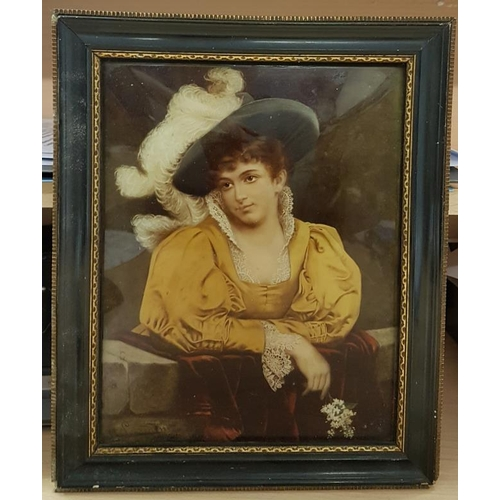 602 - Reverse Painting on Convex Glass Portrait of a Lady, framed c.9 x 11in...