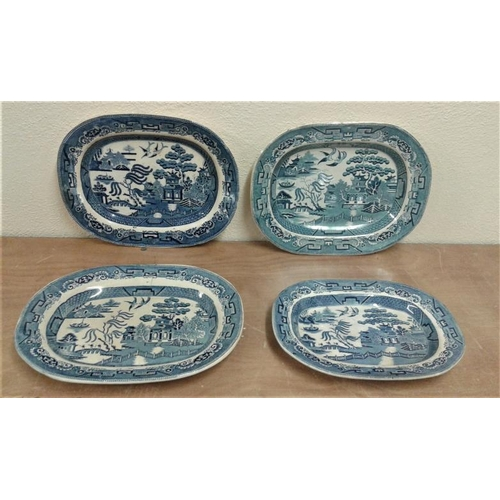 628 - Four Willow Pattern Meat Plates (1860)...