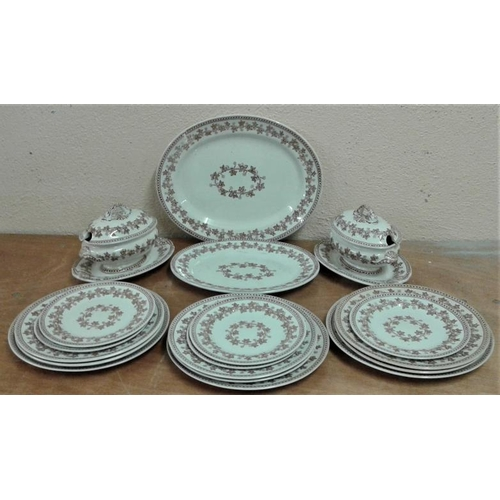 636 - 'Old Ivy' Decorated Stoneware Dinner wares with Attractive Small Tureens and Two Meat Plates...