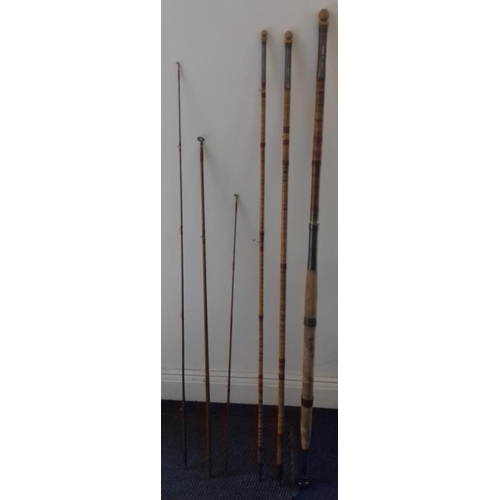 644 - Vintage Greenheart Willow, 7-piece combination fishing rod (Salmon/Trout fly, spin, trolling, sea)...