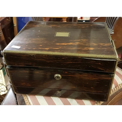 664 - Coramandel Wood and Brass Bound Lady's Jewellery Box, c.12in wide, 7in tall...
